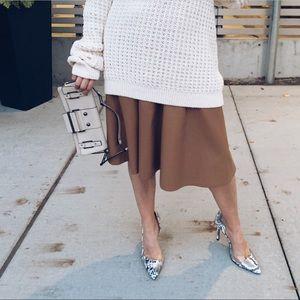 Faux leather midi skirt.